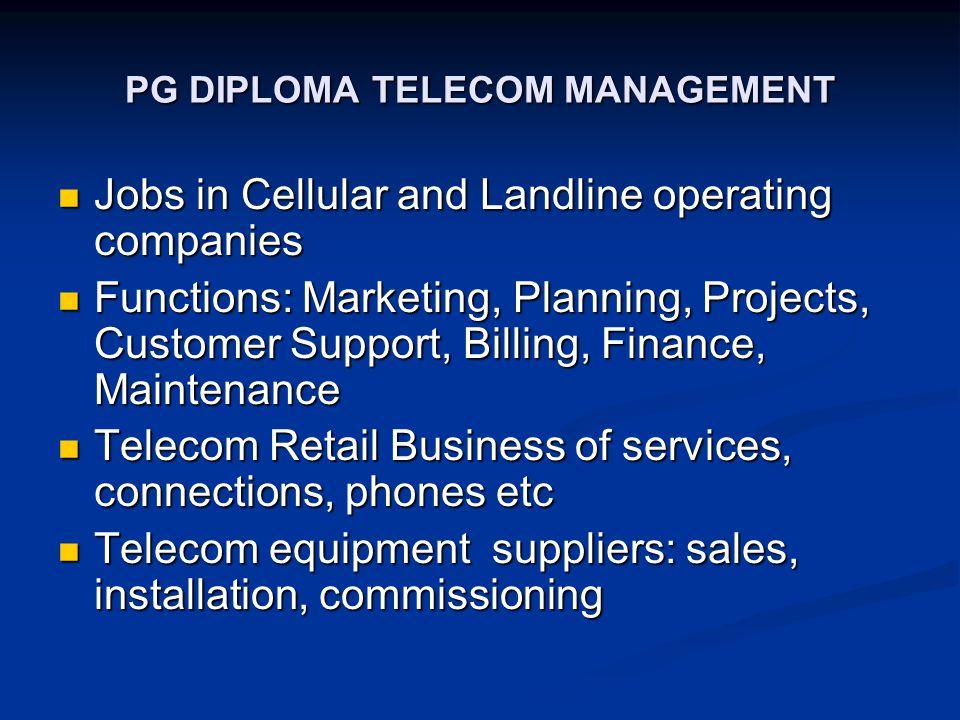 PG DIPLOMA TELECOM MANAGEMENT