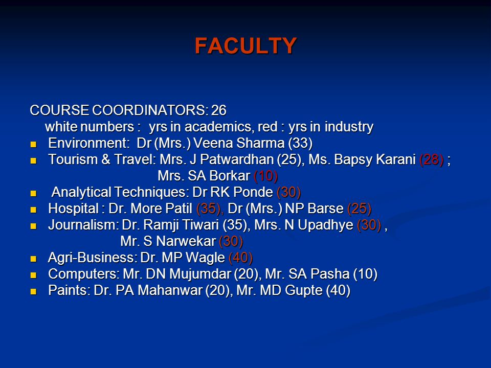 FACULTY COURSE COORDINATORS: 26