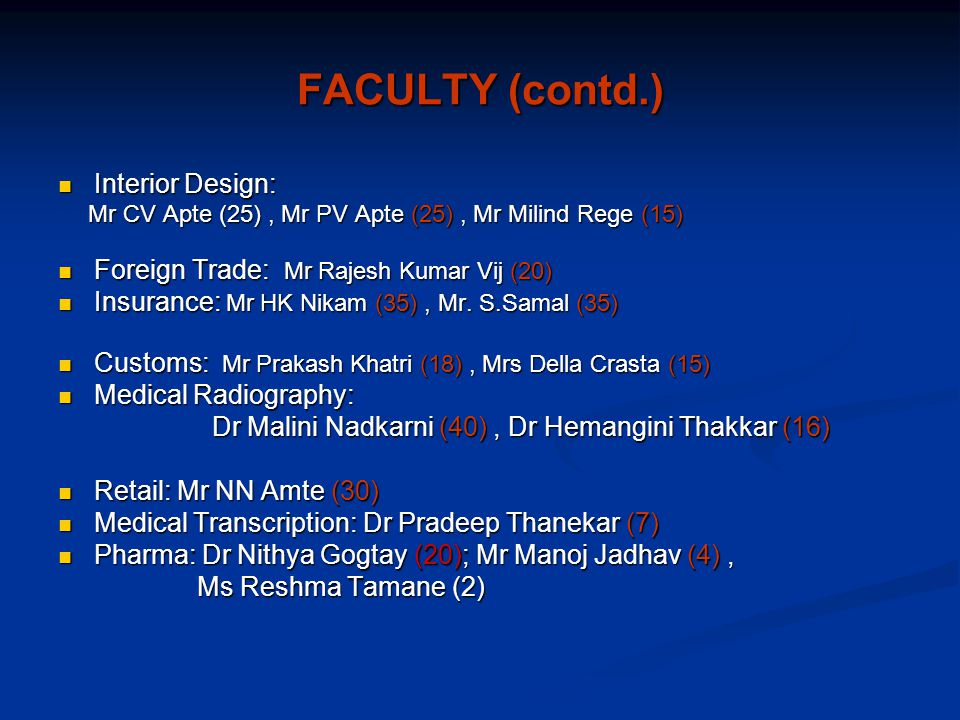 FACULTY (contd.) Interior Design: