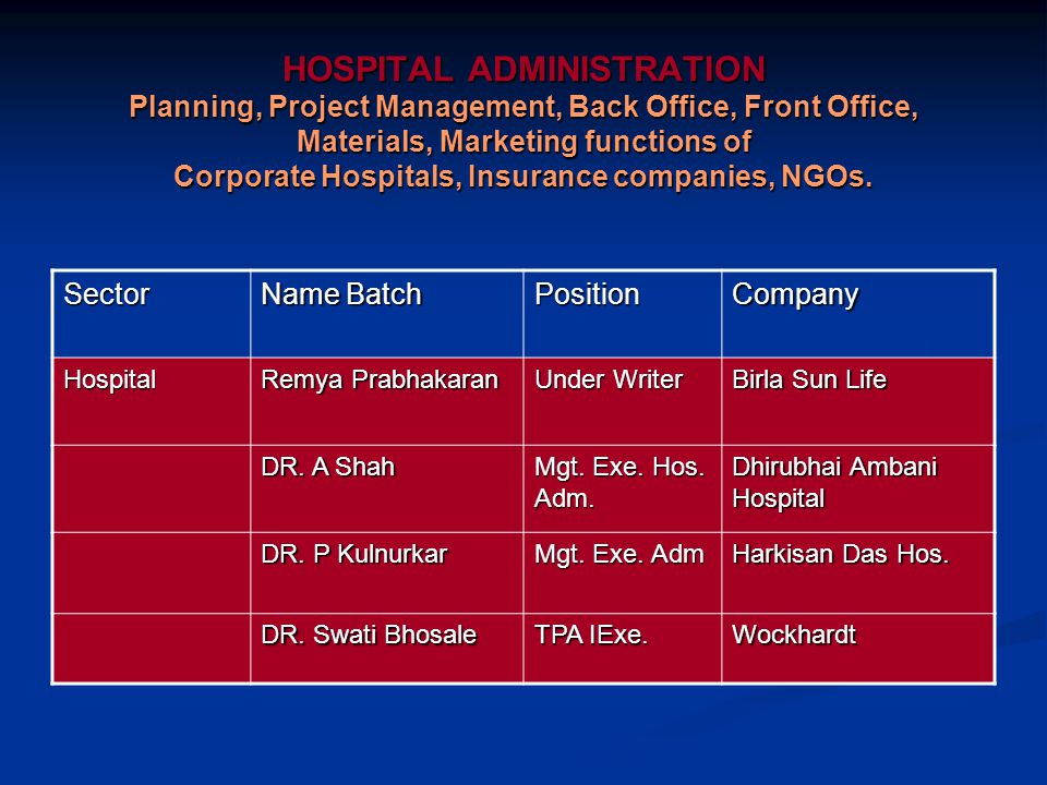 HOSPITAL ADMINISTRATION Planning, Project Management, Back Office, Front Office, Materials, Marketing functions of Corporate Hospitals, Insurance companies, NGOs.