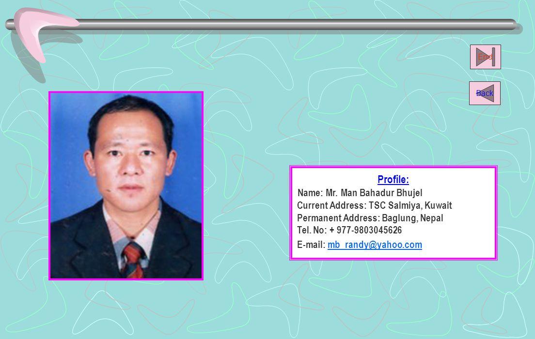 Name: Mr. Man Bahadur Bhujel