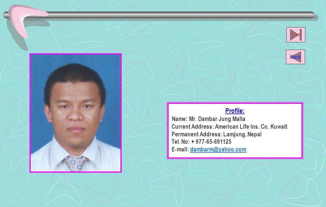 Name: Mr. Dambar Jung Malla