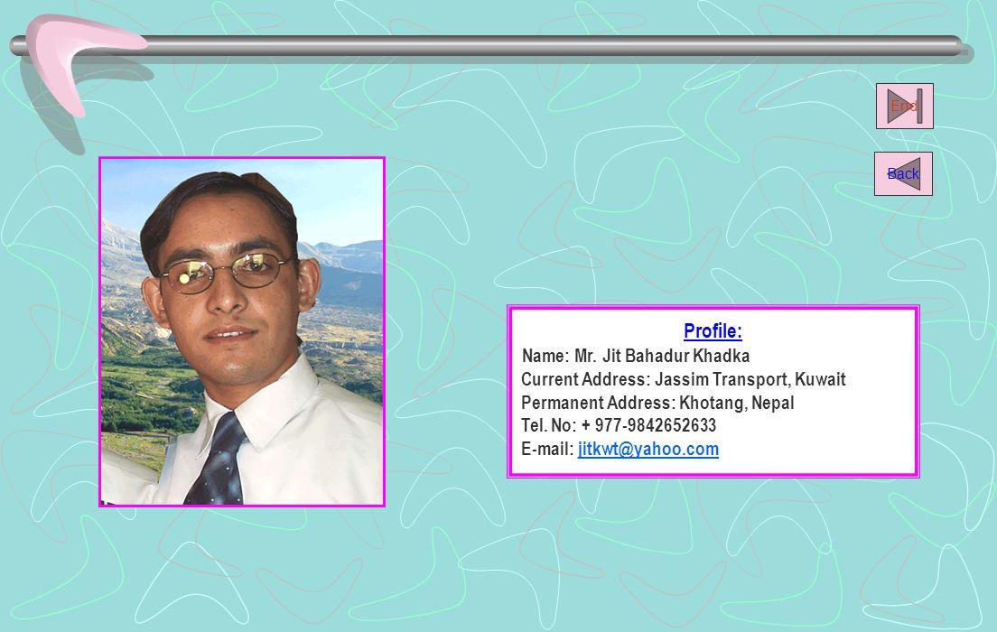 Name: Mr. Jit Bahadur Khadka