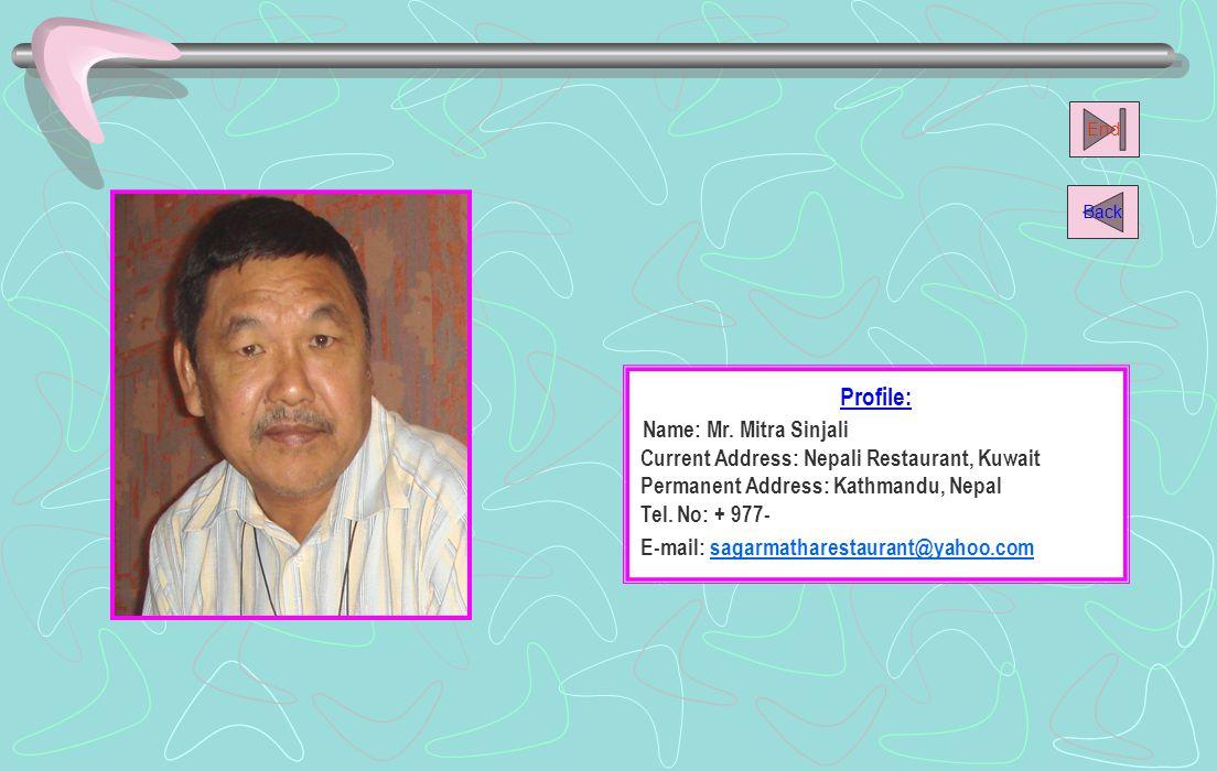 Name: Mr. Mitra Sinjali Profile: