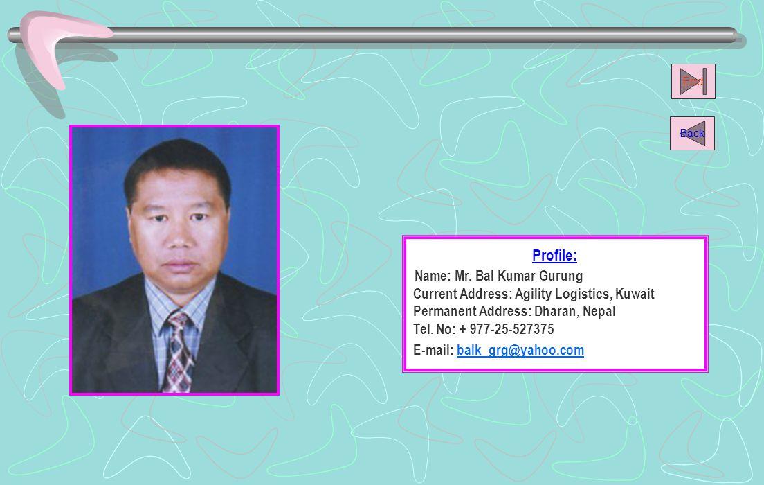 Name: Mr. Bal Kumar Gurung