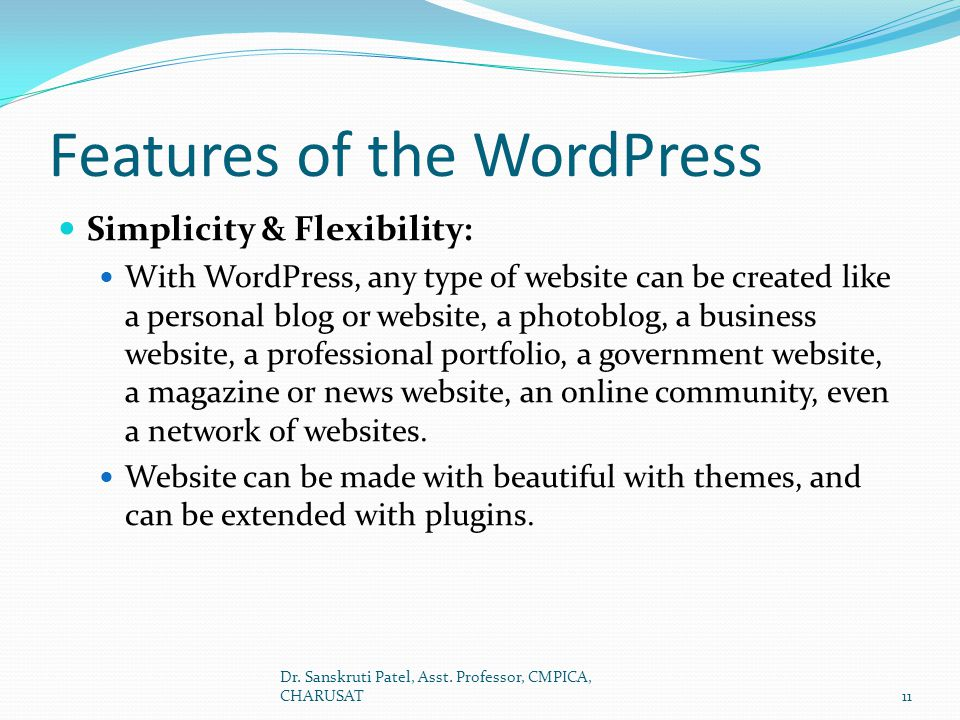 Features of the WordPress