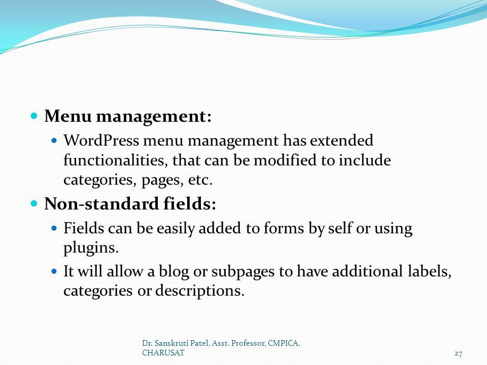 Menu management: Non-standard fields: