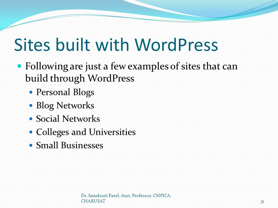 Sites built with WordPress