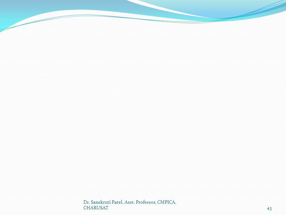 Dr. Sanskruti Patel, Asst. Professor, CMPICA, CHARUSAT