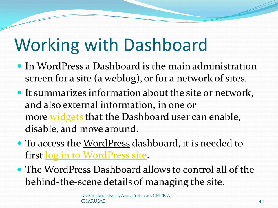 Working with Dashboard