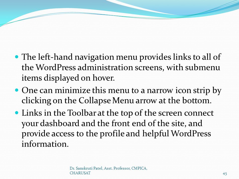 The left-hand navigation menu provides links to all of the WordPress administration screens, with submenu items displayed on hover.