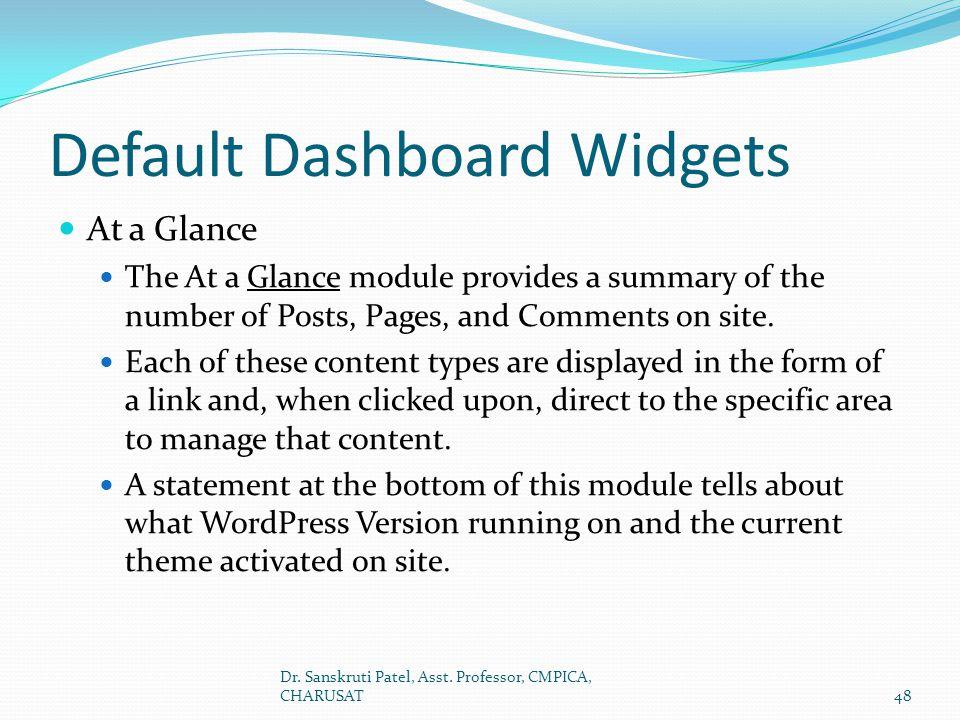 Default Dashboard Widgets