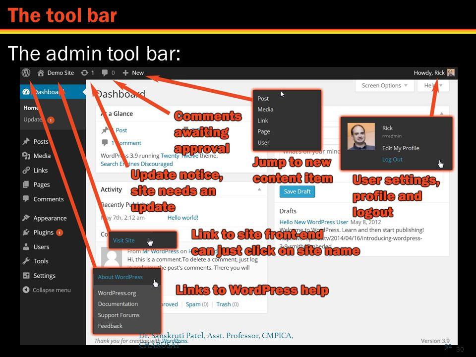 The tool bar The admin tool bar: