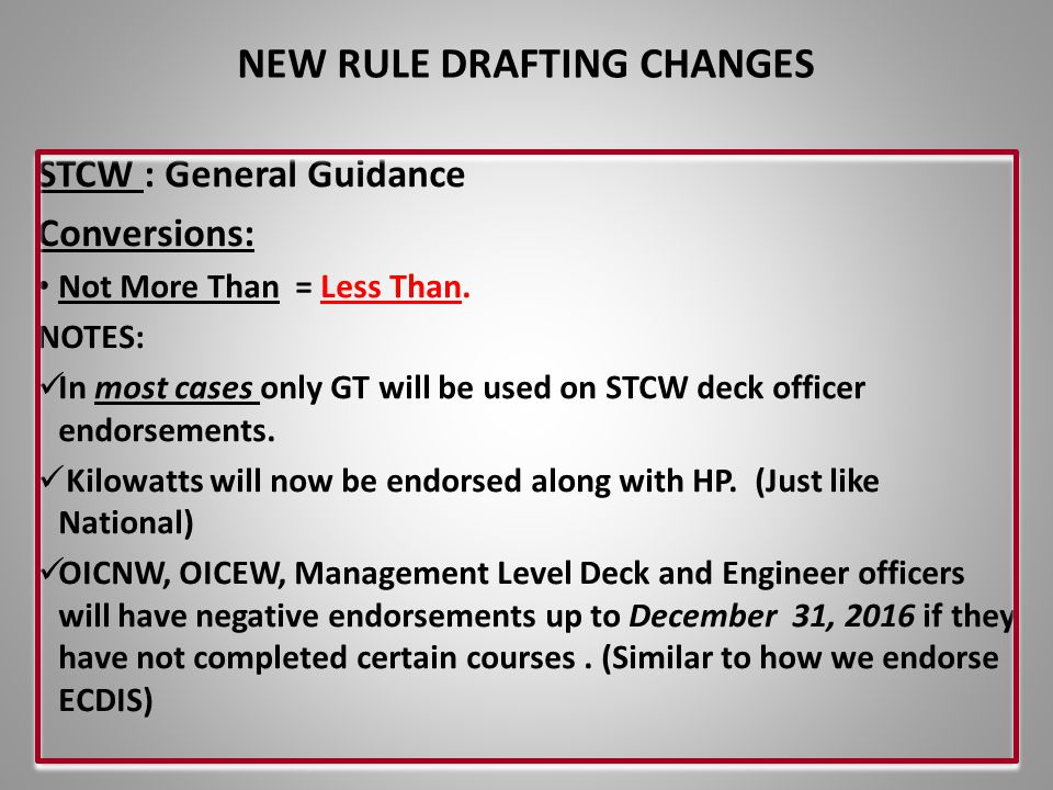 NEW RULE DRAFTING CHANGES