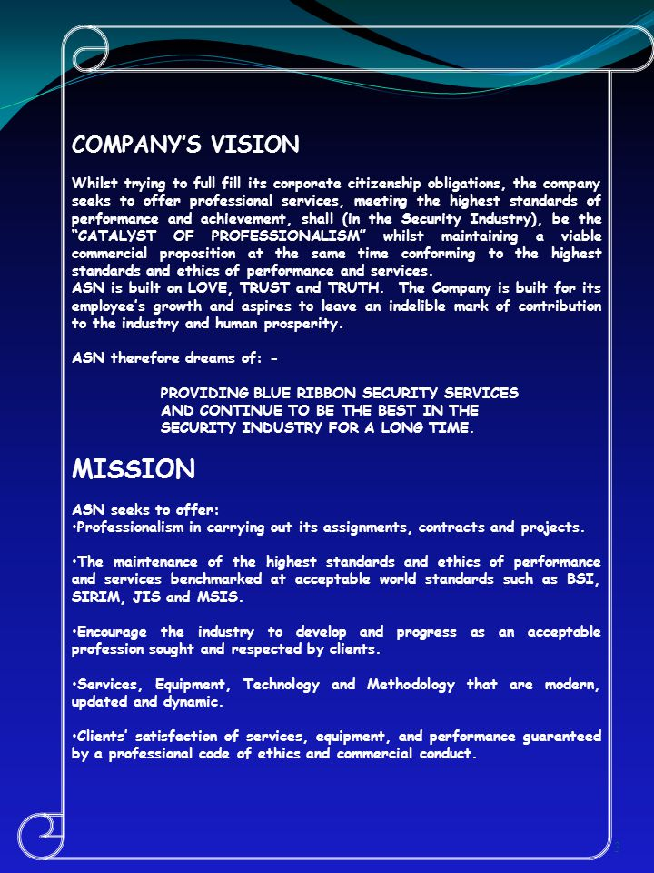 MISSION COMPANY'S VISION