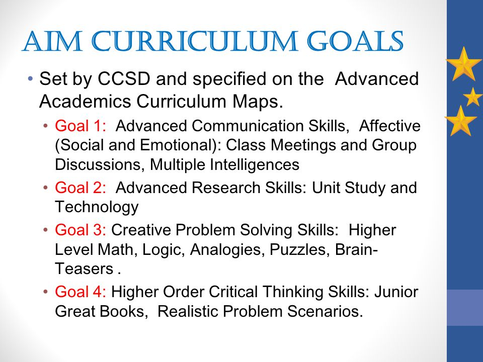AIM Curriculum Goals Set by CCSD and specified on the Advanced Academics Curriculum Maps.