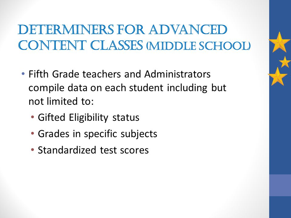 Determiners for Advanced Content Classes (middle school)