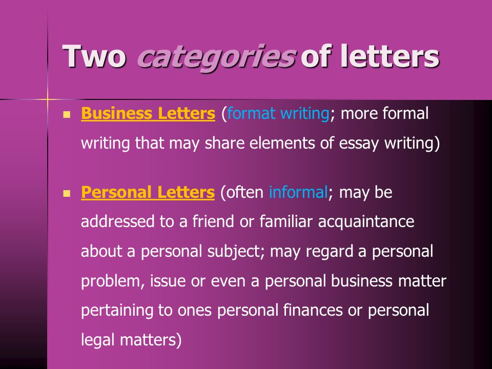 Two categories of letters