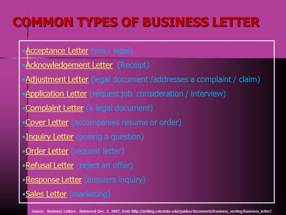 kinds of business letter Historically, business letters were sent via postal mail or courier, although the internet is rapidly changing the way businesses communicate there are many standard types of business letters, and each of them has a specific focus.