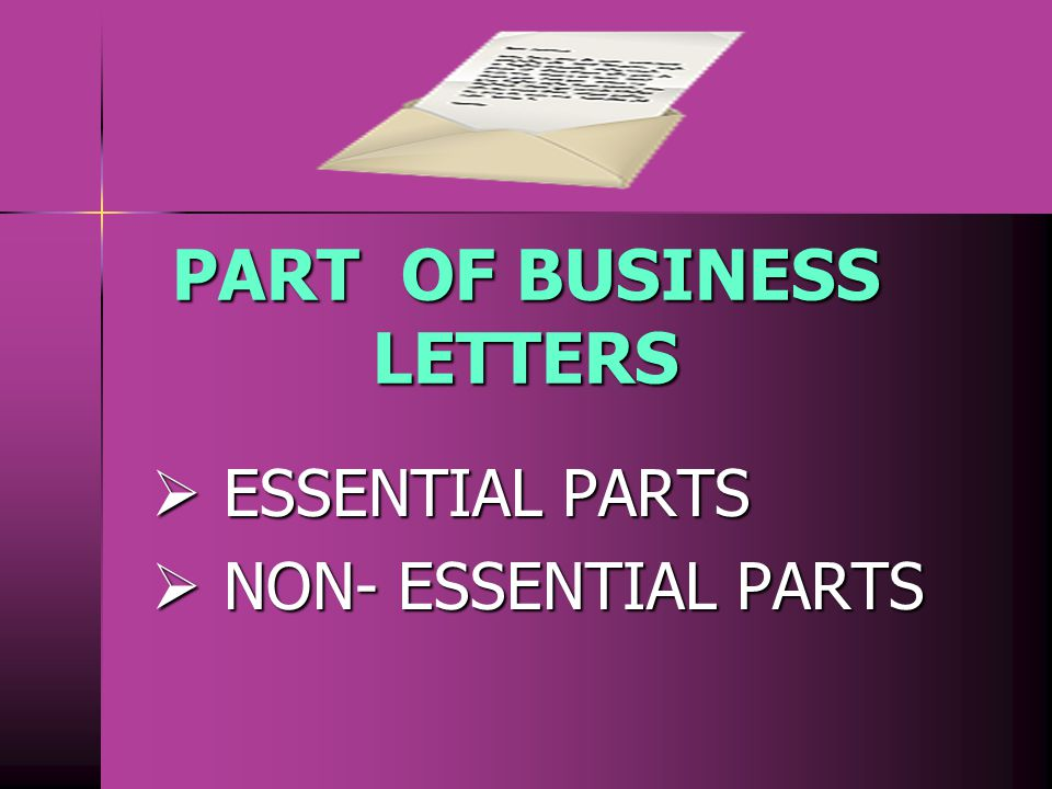 PART OF BUSINESS LETTERS