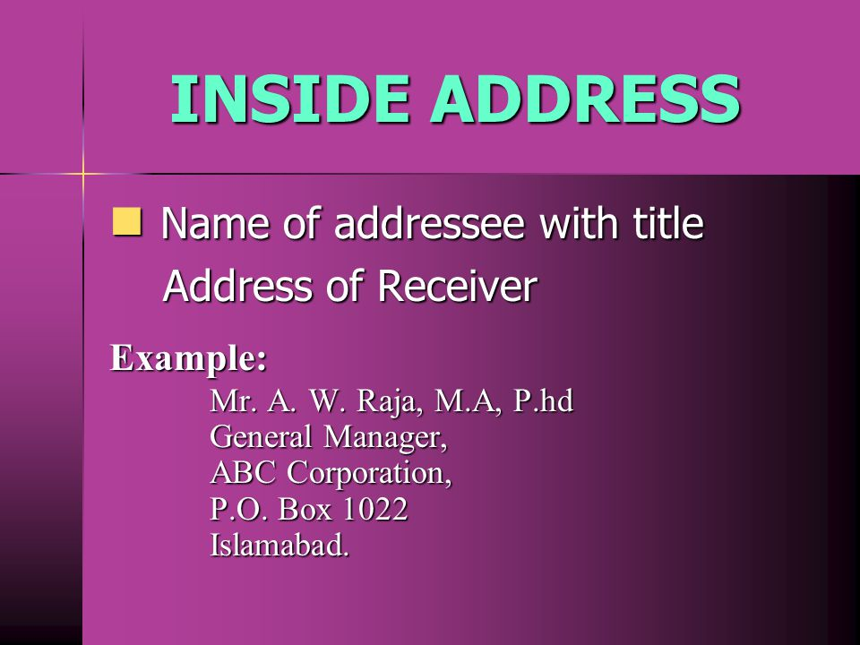 INSIDE ADDRESS Name of addressee with title Address of Receiver
