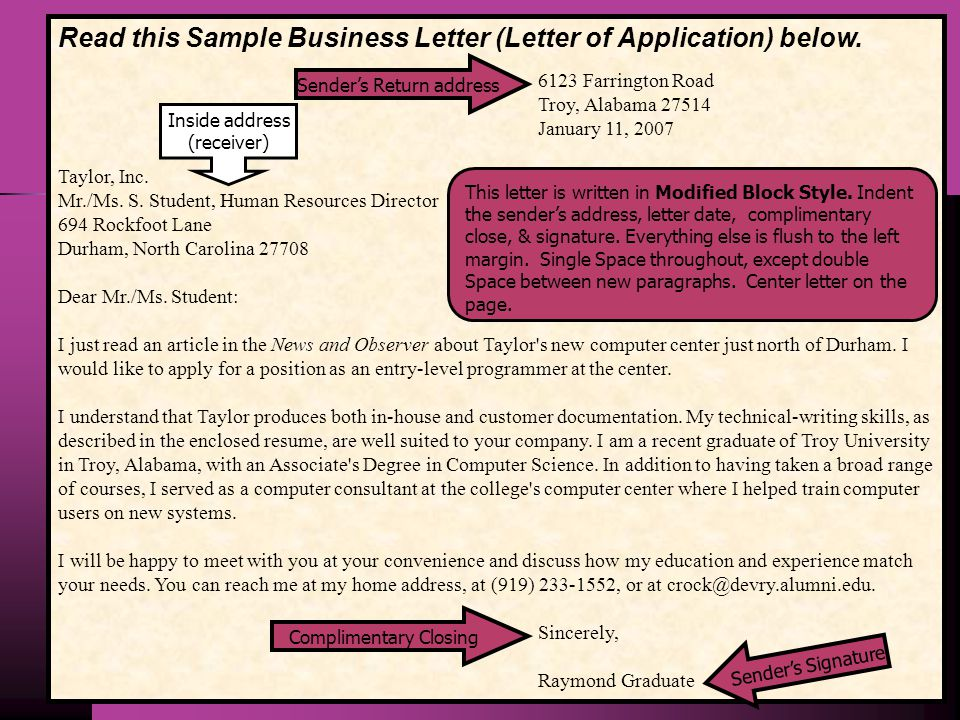 Read this Sample Business Letter (Letter of Application) below.