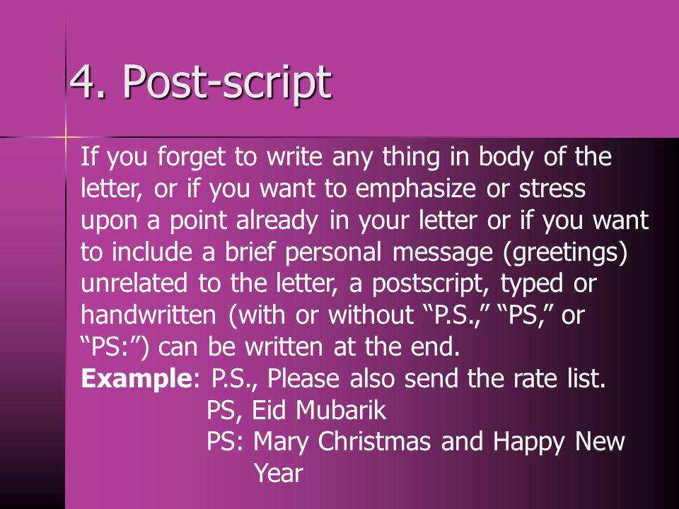 4. Post-script