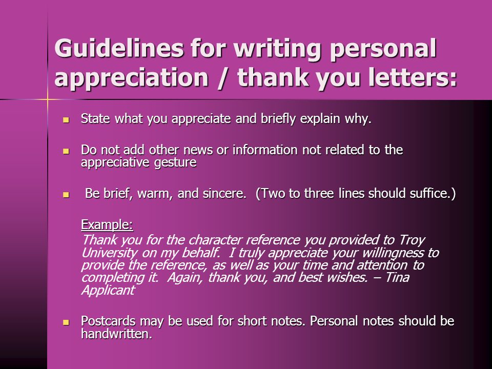 Guidelines for writing personal appreciation / thank you letters: