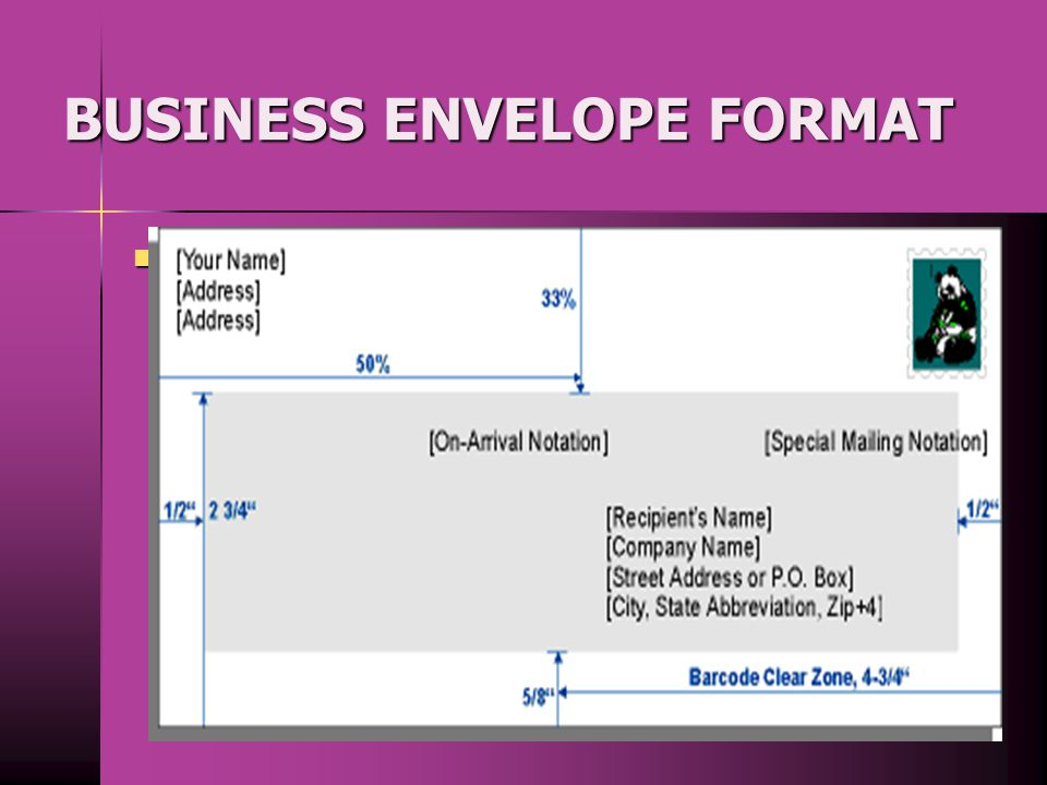 BUSINESS ENVELOPE FORMAT