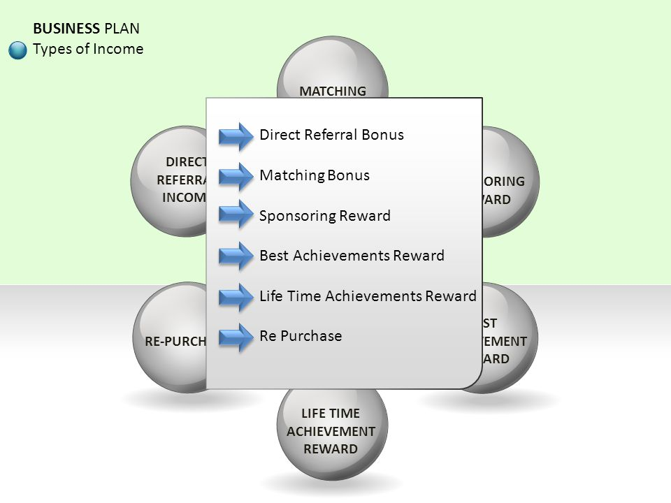 Types of Income BUSINESS PLAN Types of Income Direct Referral Bonus
