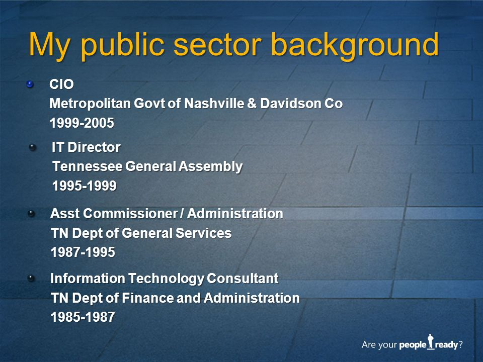 My public sector background