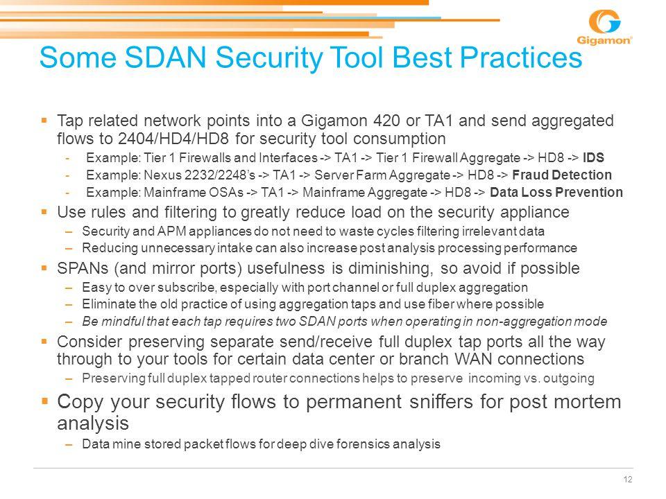 Some SDAN Security Tool Best Practices