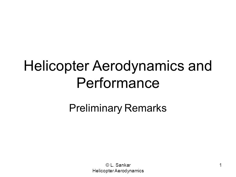 Helicopter Aerodynamics and Performance