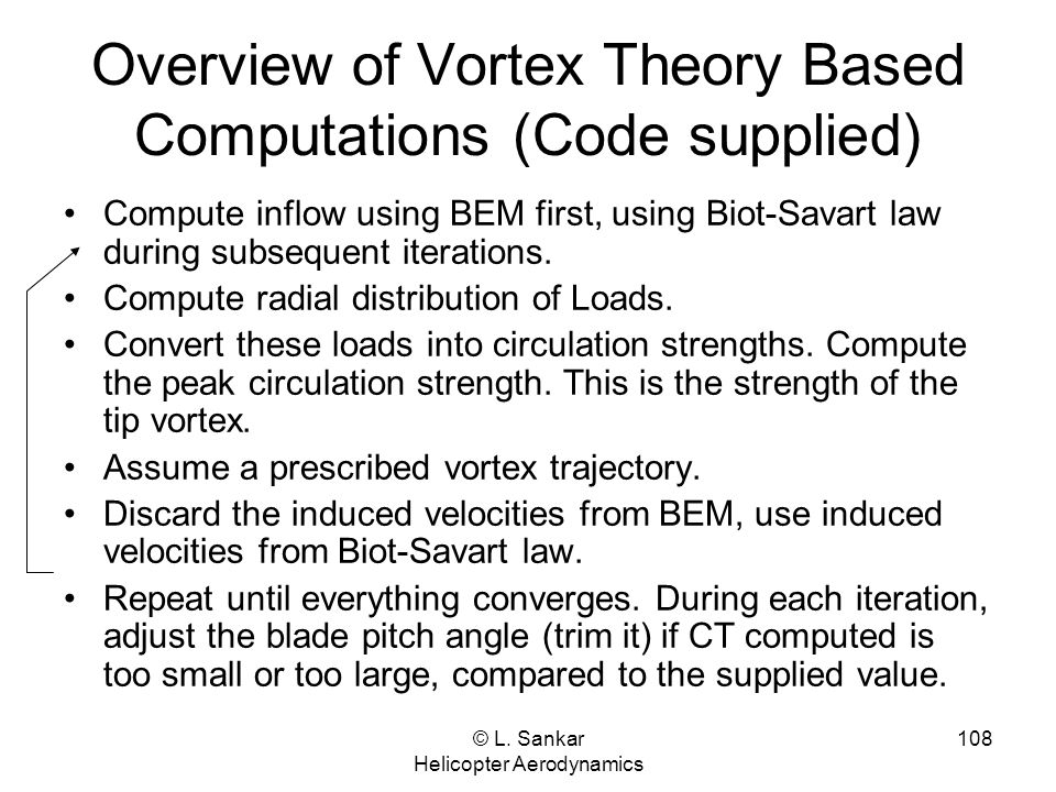 Overview of Vortex Theory Based Computations (Code supplied)