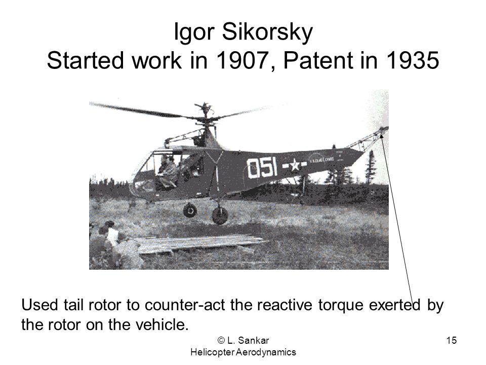 Igor Sikorsky Started work in 1907, Patent in 1935