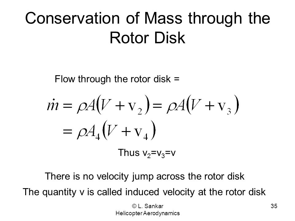 Conservation of Mass through the Rotor Disk