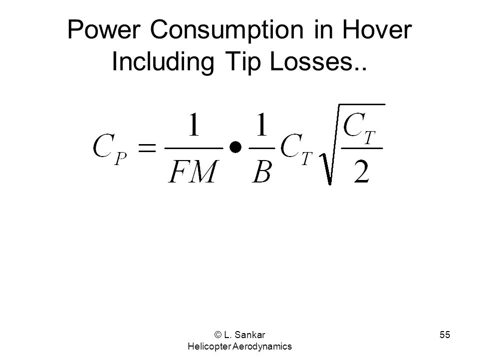 Power Consumption in Hover Including Tip Losses..