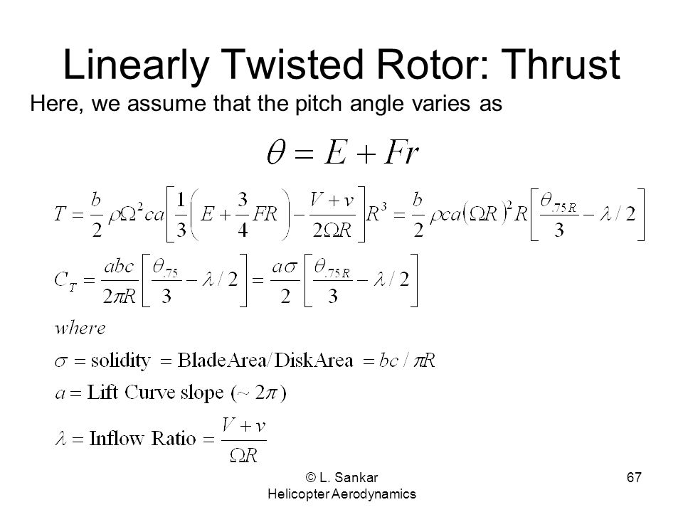 Linearly Twisted Rotor: Thrust
