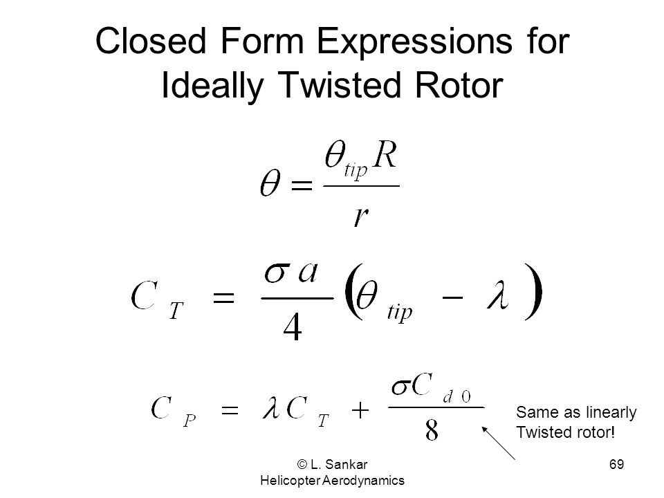 Closed Form Expressions for Ideally Twisted Rotor
