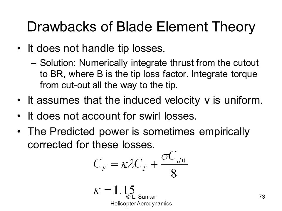 Drawbacks of Blade Element Theory