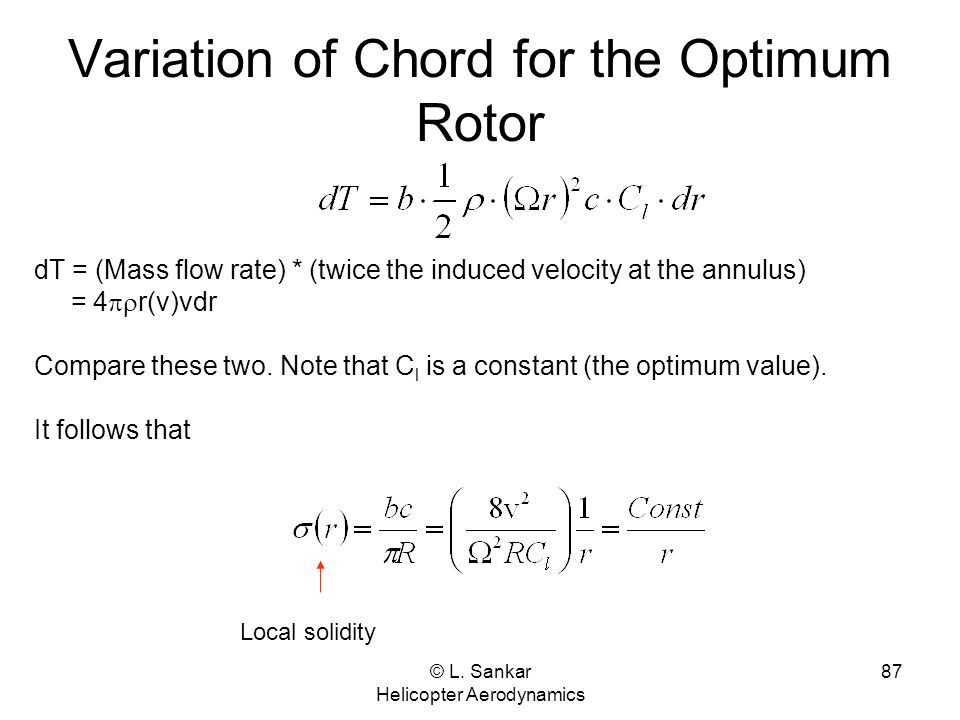 Variation of Chord for the Optimum Rotor