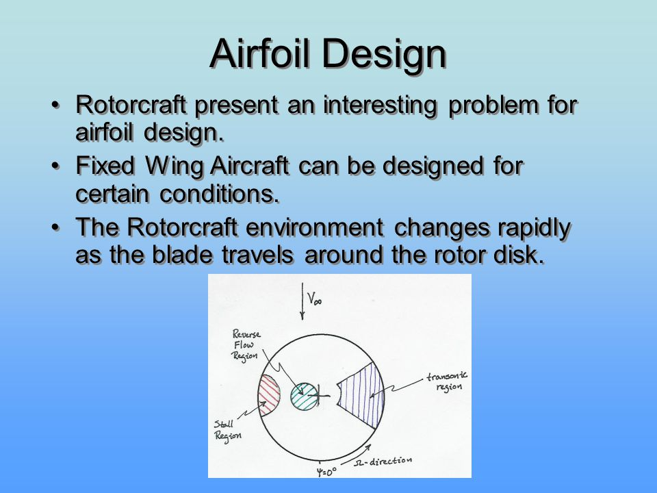 Airfoil Design Rotorcraft present an interesting problem for airfoil design. Fixed Wing Aircraft can be designed for certain conditions.