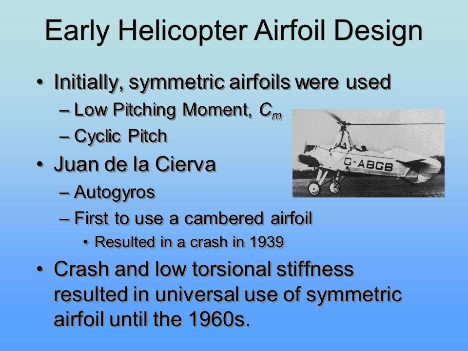 Early Helicopter Airfoil Design