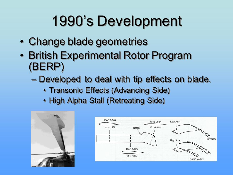 1990's Development Change blade geometries