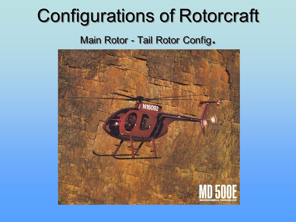 Configurations of Rotorcraft Main Rotor - Tail Rotor Config.