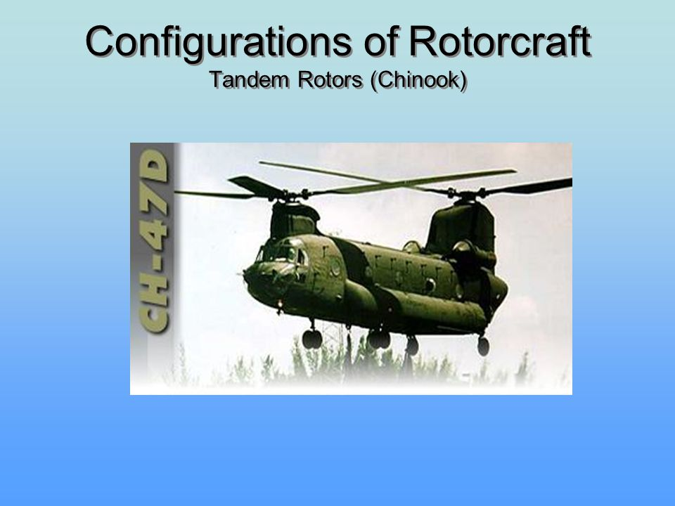 Configurations of Rotorcraft Tandem Rotors (Chinook)
