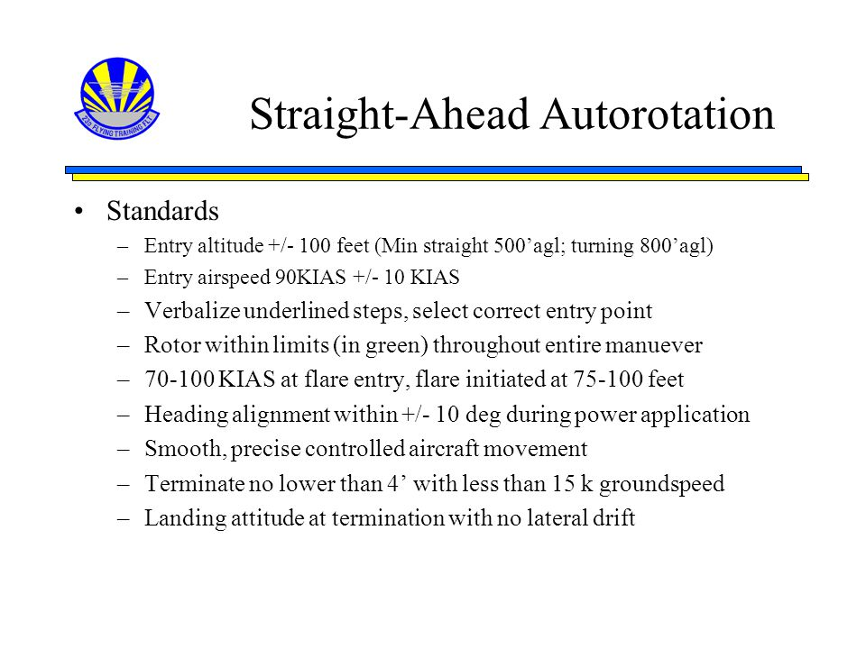 Straight-Ahead Autorotation