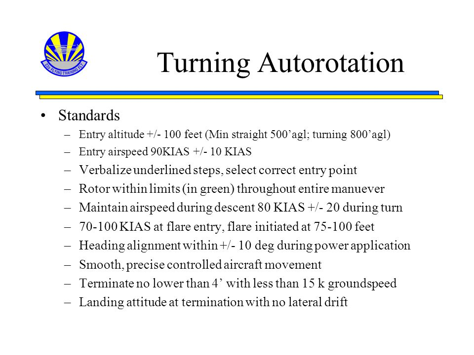 Turning Autorotation Standards