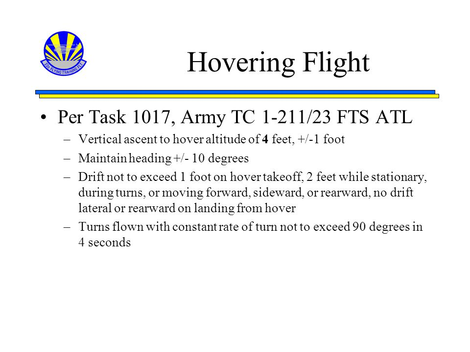 Hovering Flight Per Task 1017, Army TC 1-211/23 FTS ATL
