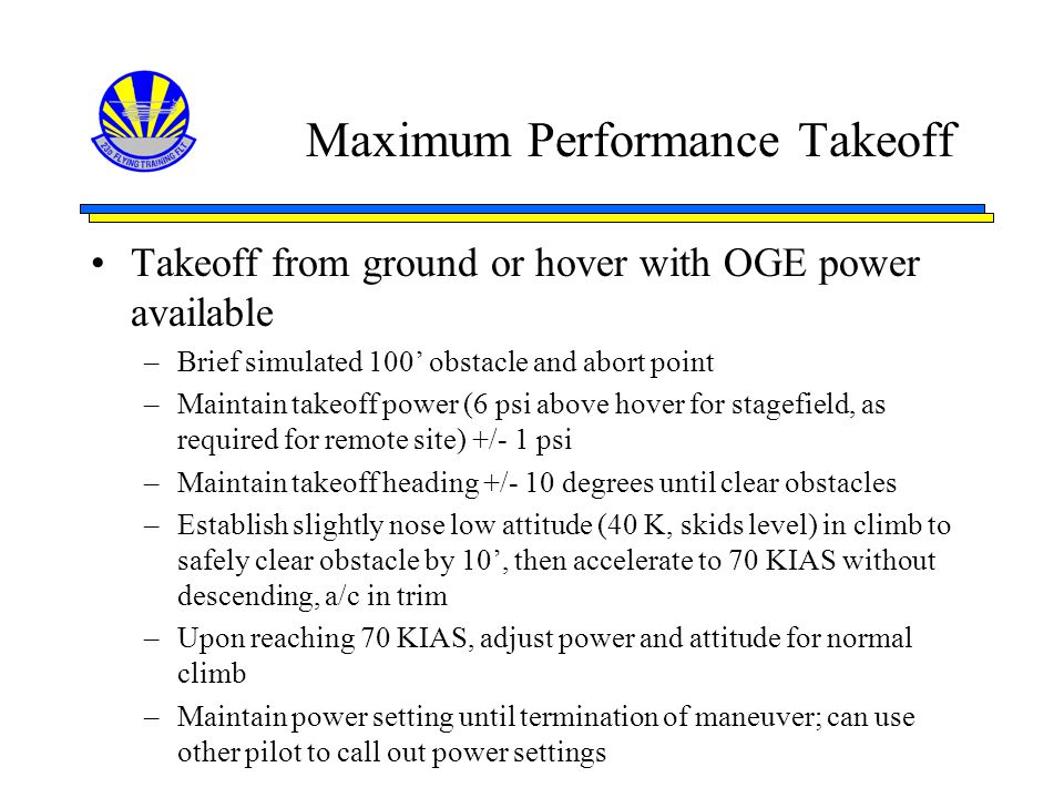 Maximum Performance Takeoff
